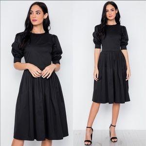 Dresses & Skirts - Puffed sleeve black midi dress